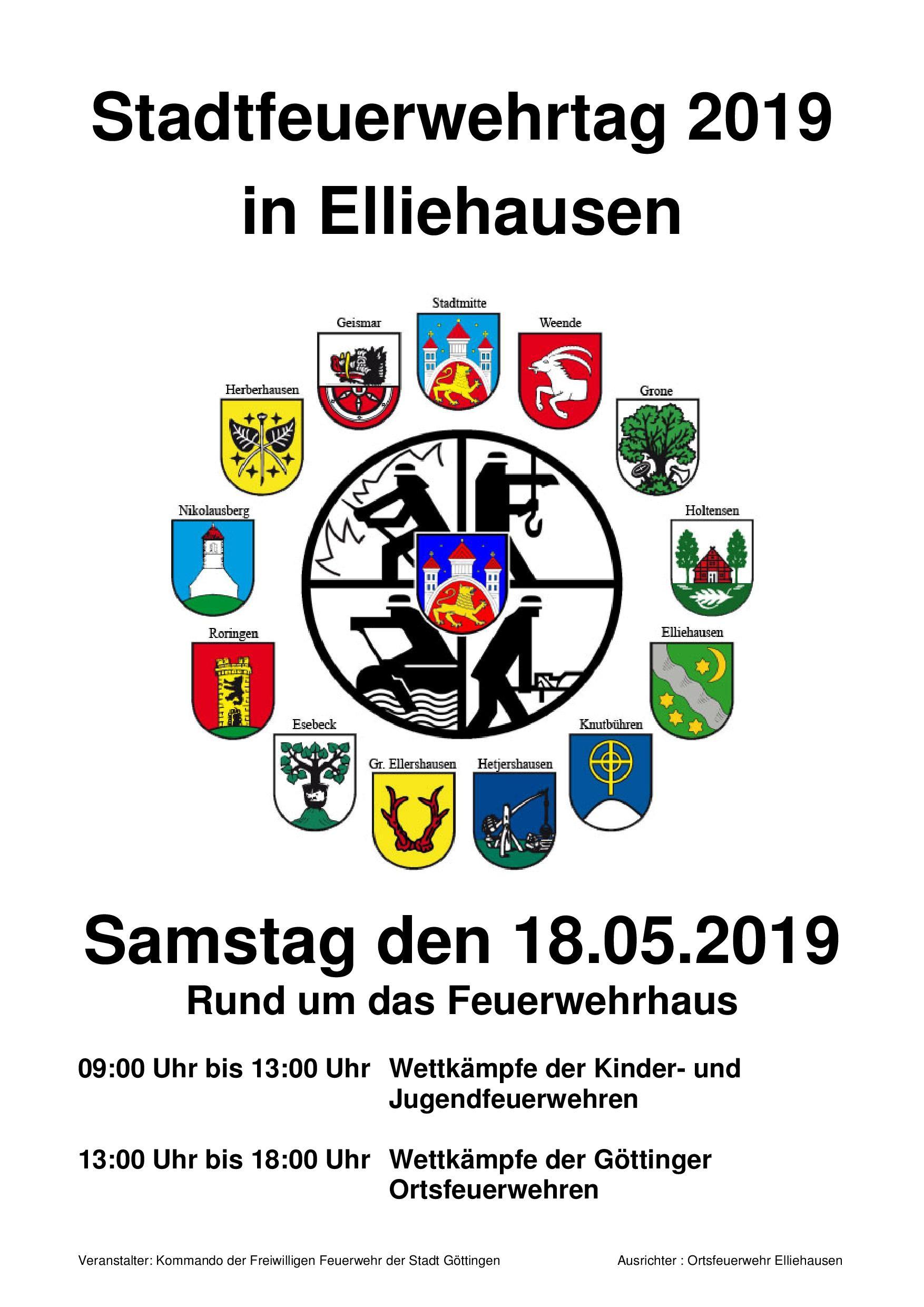 Stadtfeuerwehrtag 2019 mit Ortswappen